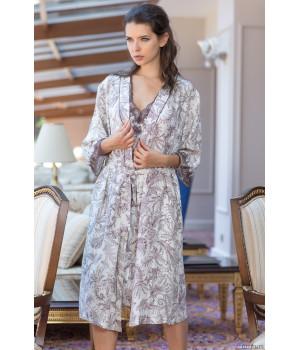 Длинный классический халат–кимоно из натурального шелка Evita (3089)