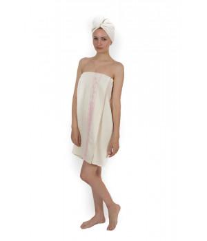 Женский набор для бани и сауны Classic Cotton - Кремовый (EVA)